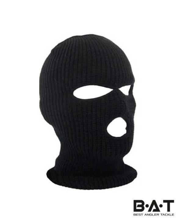 Шапка-маска балаклава вязаная + флис (черная) ev