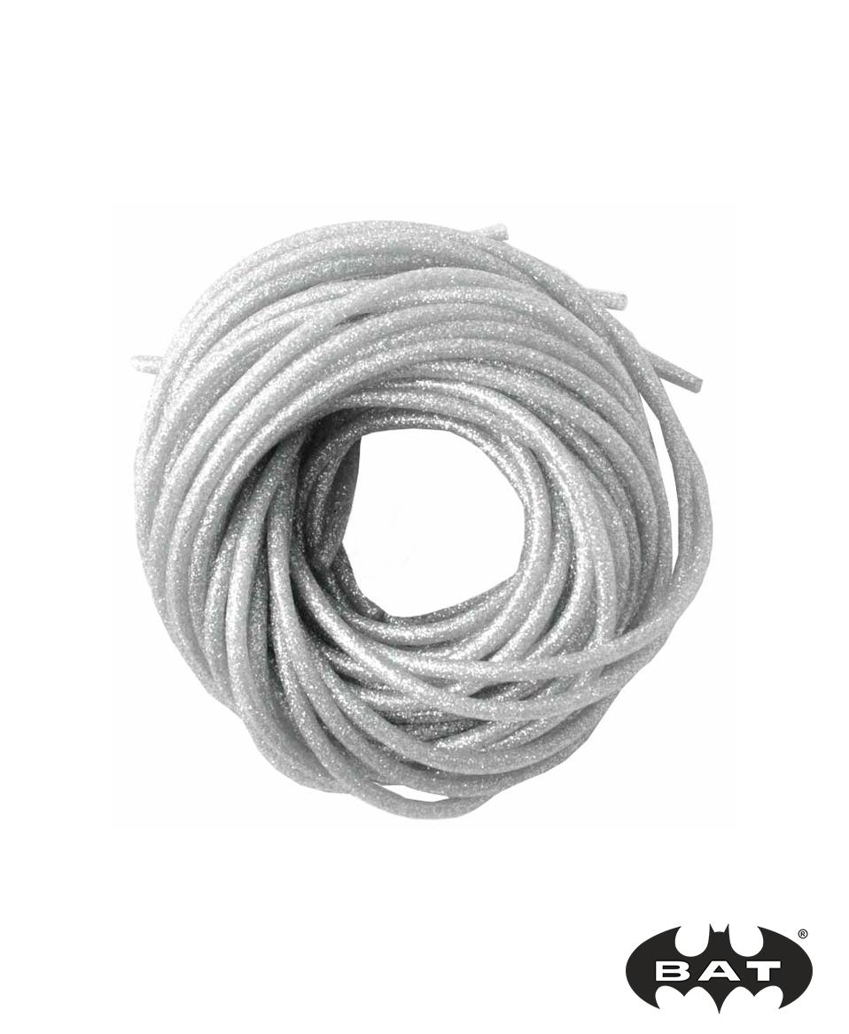 Кембрик силикон. д.1,5*2,5 серебро с блестками (Три Кита)