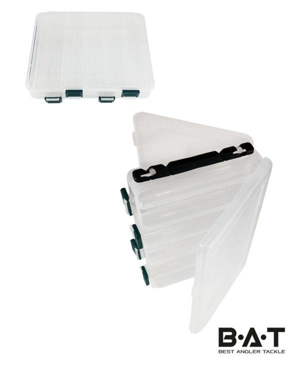 Коробка для воблеров двухсторонняя HS 328 (200*160*50) 10 отд. белая прозр.