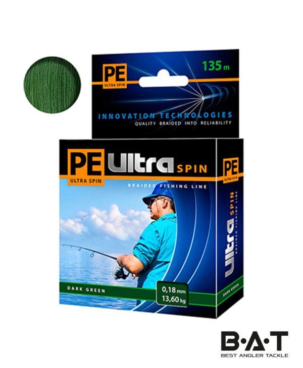 Леска плетеная AQUA PE Ultra SPIN (Green) 135 м., 0,16 мм. (10,2 кг.)