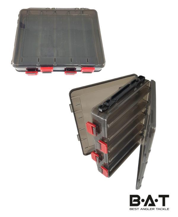 Коробка для воблеров двухсторонняя HS 328 (200*160*50) 10 отд. черная прозр.