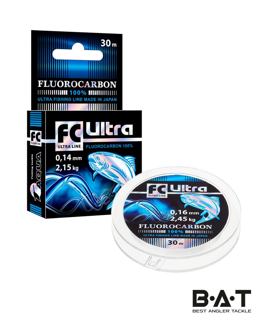 Леска AQUA FC Ultra Fluorocarbon 100% 30 м. 0,22 мм.