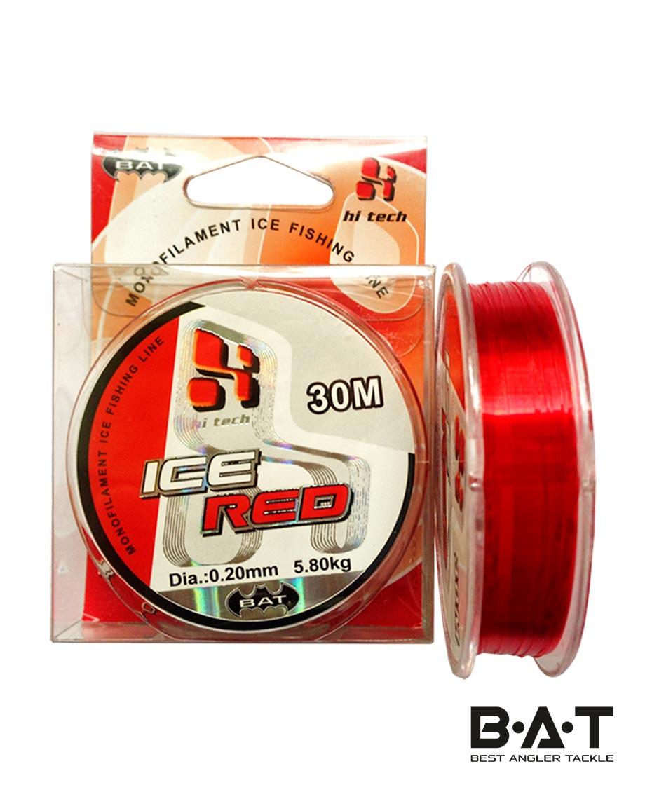 Леска BAT ICE RED 30 м. 0,14мм. (Уп10)
