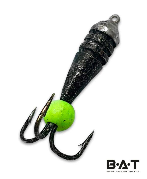 """Мормышка вольфр.""""Робинзон"""" № 919 Черт риски гранж черный никель неон.шарик Ø 3 ( 0,85 гр.)"""