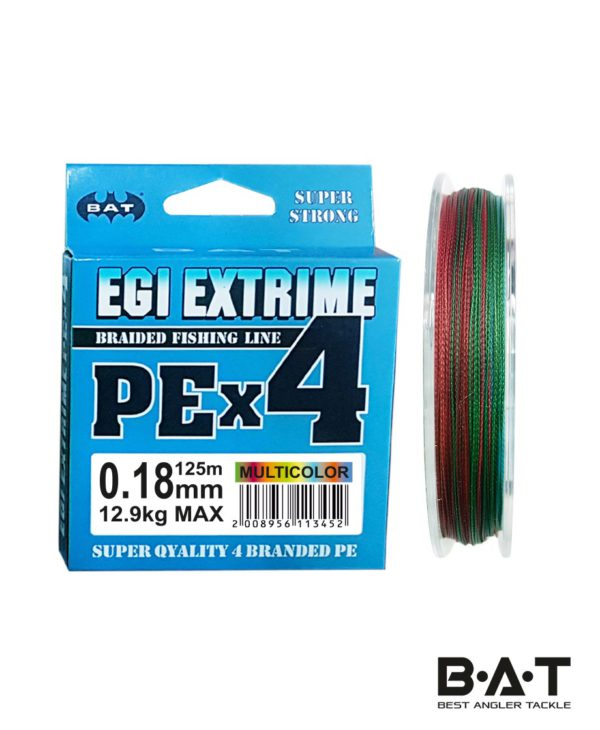 Леска плетеная BAT PE EGI EXTRIME NEW Multicolor 125 м., 0,18 мм.