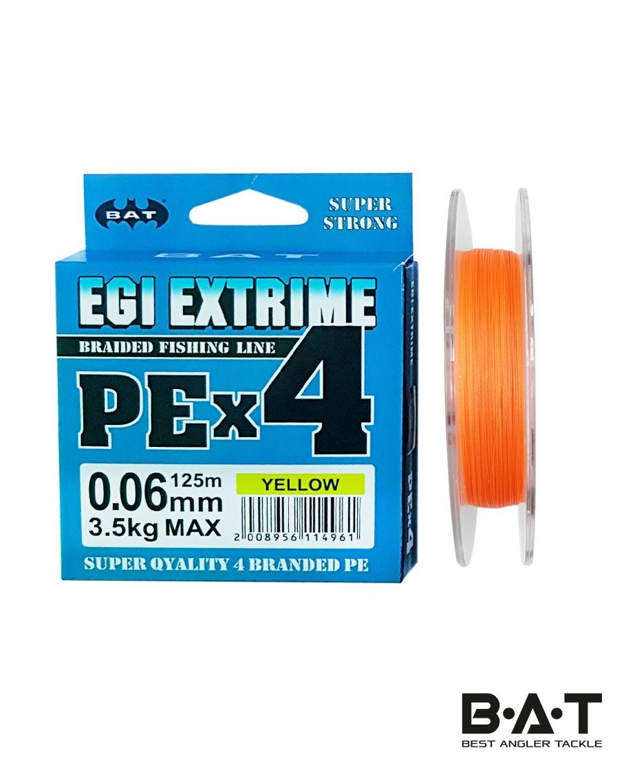 Леска плетеная BAT PE EGI EXTRIME NEW Yellow 125 м., 0,06 мм.