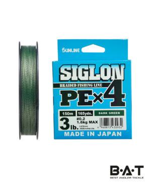 Шнур Sunlline SIGLON PE X4 (dark green) 150 m #0.2, (3 lb, 1,6kg)