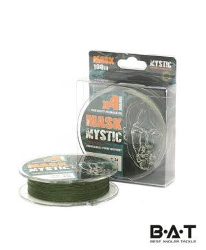 Леска плетеная Akkoi Mask Mystic X4 Deep Green 100 м., 0,10 мм