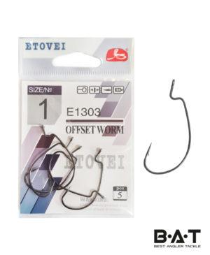 Крючок одинар. ETOVEI E-1303 Offset Worm # 1 уп.5